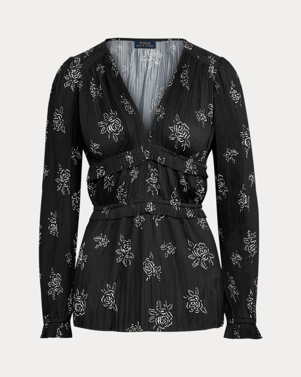 Pleated Rose-Print Blouse