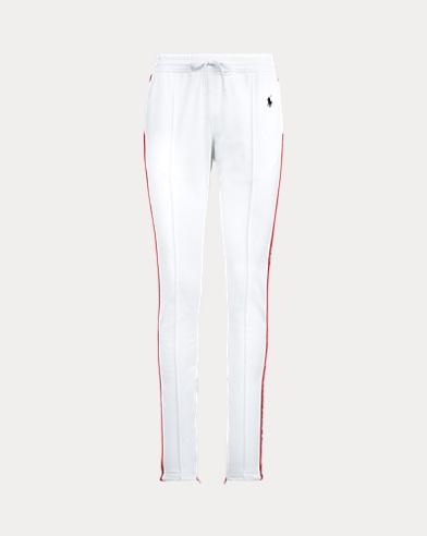 Striped-Trim Fleece Track Pant