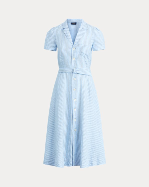 Belted Linen Midi Dress