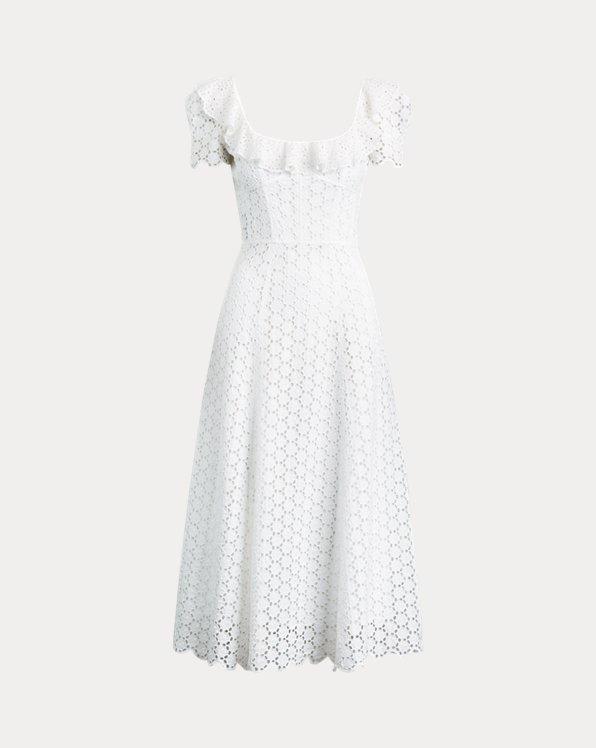 Linen Eyelet Midi Dress