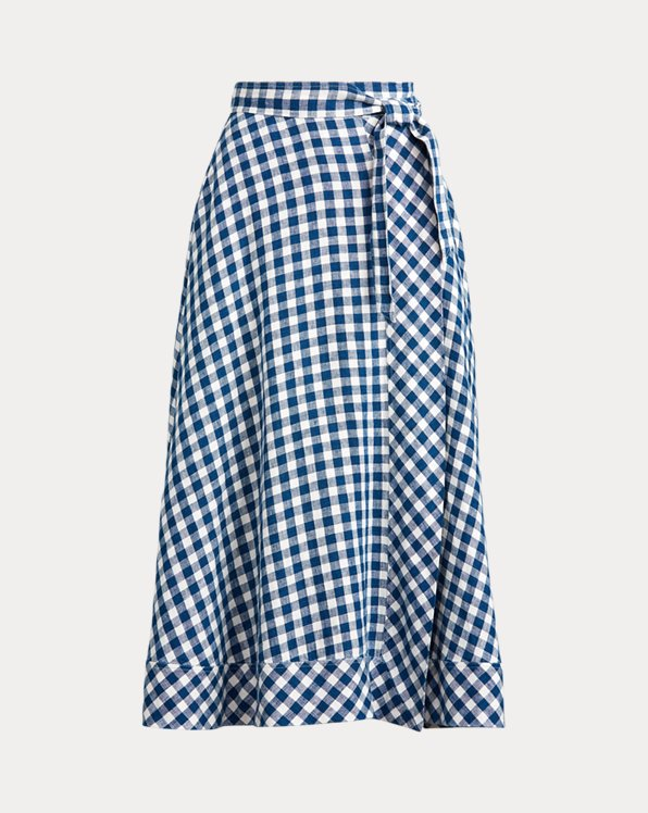 Gingham Linen Wrap Skirt