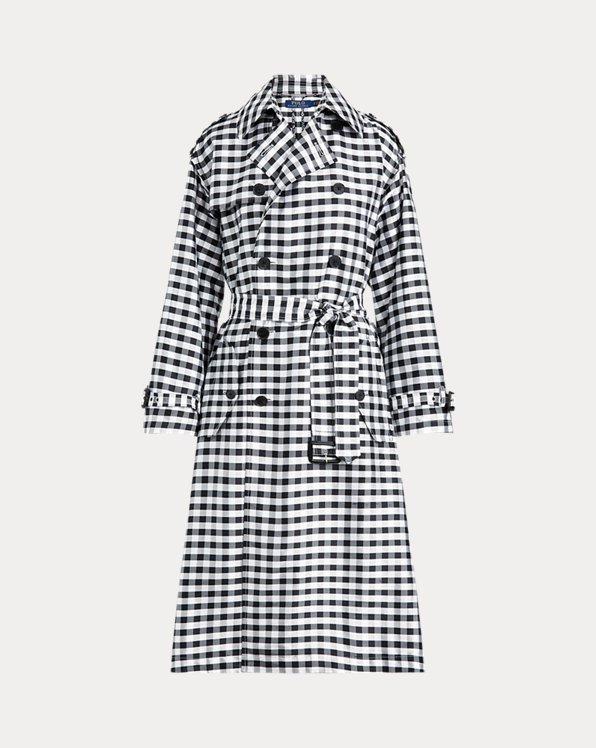 Gingham Silk Trench Coat
