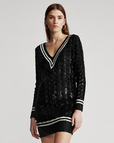 Sequined Cricket Sweater Dress