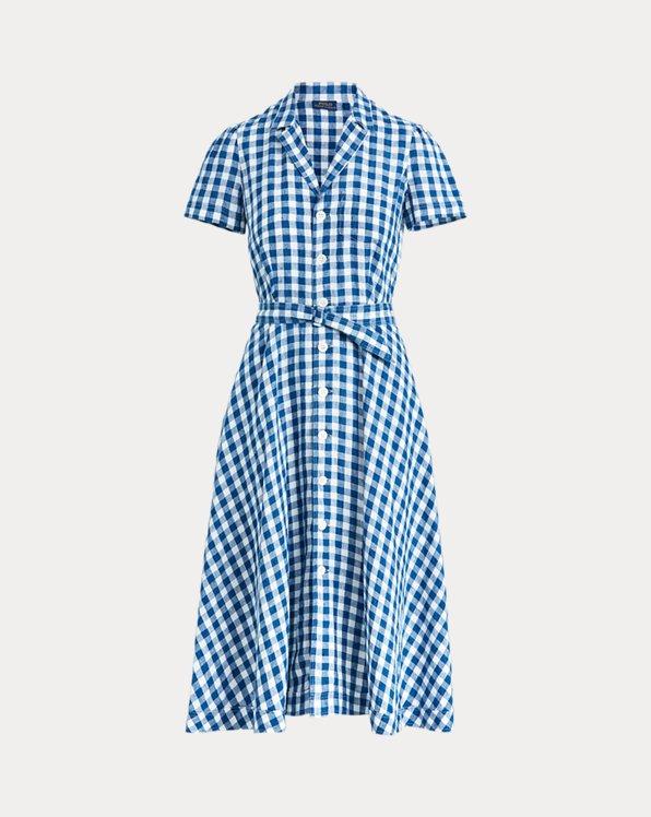 Belted Linen Midi Dress