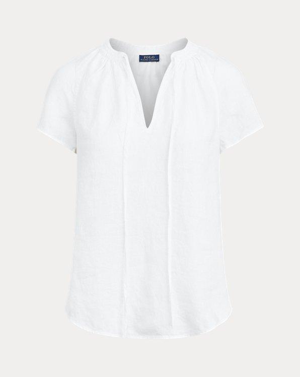 Linen Tie-Neck Blouse
