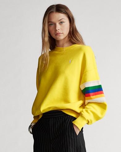 Rainbow-Trim Fleece Sweatshirt