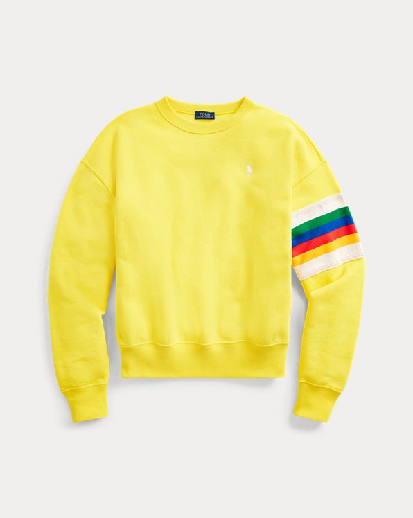 Rainbow-Trim Fleece Sweatshirt