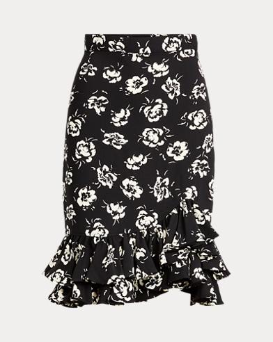 Flounce-Hem Satin Skirt