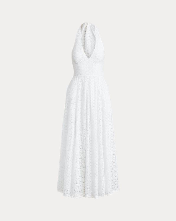 Eyelet Cotton Halter Dress