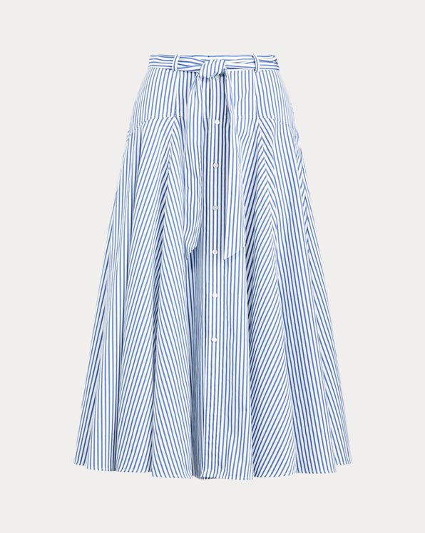 Striped Cotton A-Line Skirt
