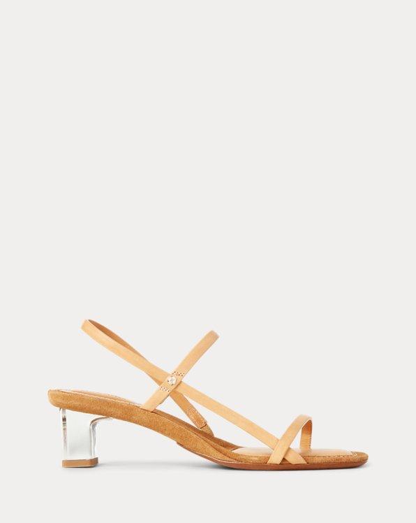 Sandali in pelle tacco squadrato