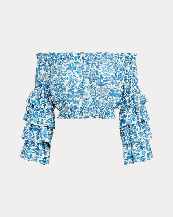 Floral Crepe Cropped Top