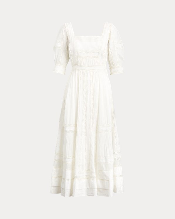 Lace-Trim Cotton Dress