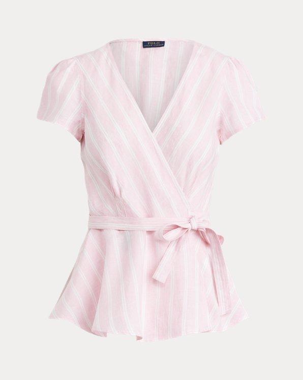 Striped Linen Wrap Blouse