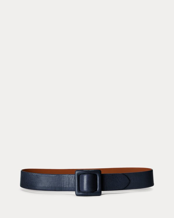 Lizard-Stamped Calfskin Belt