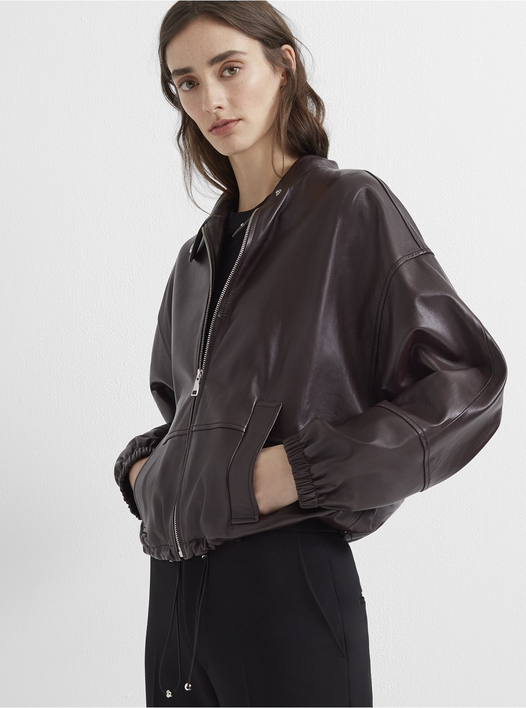 Blouson Sleeve Leather Jacket