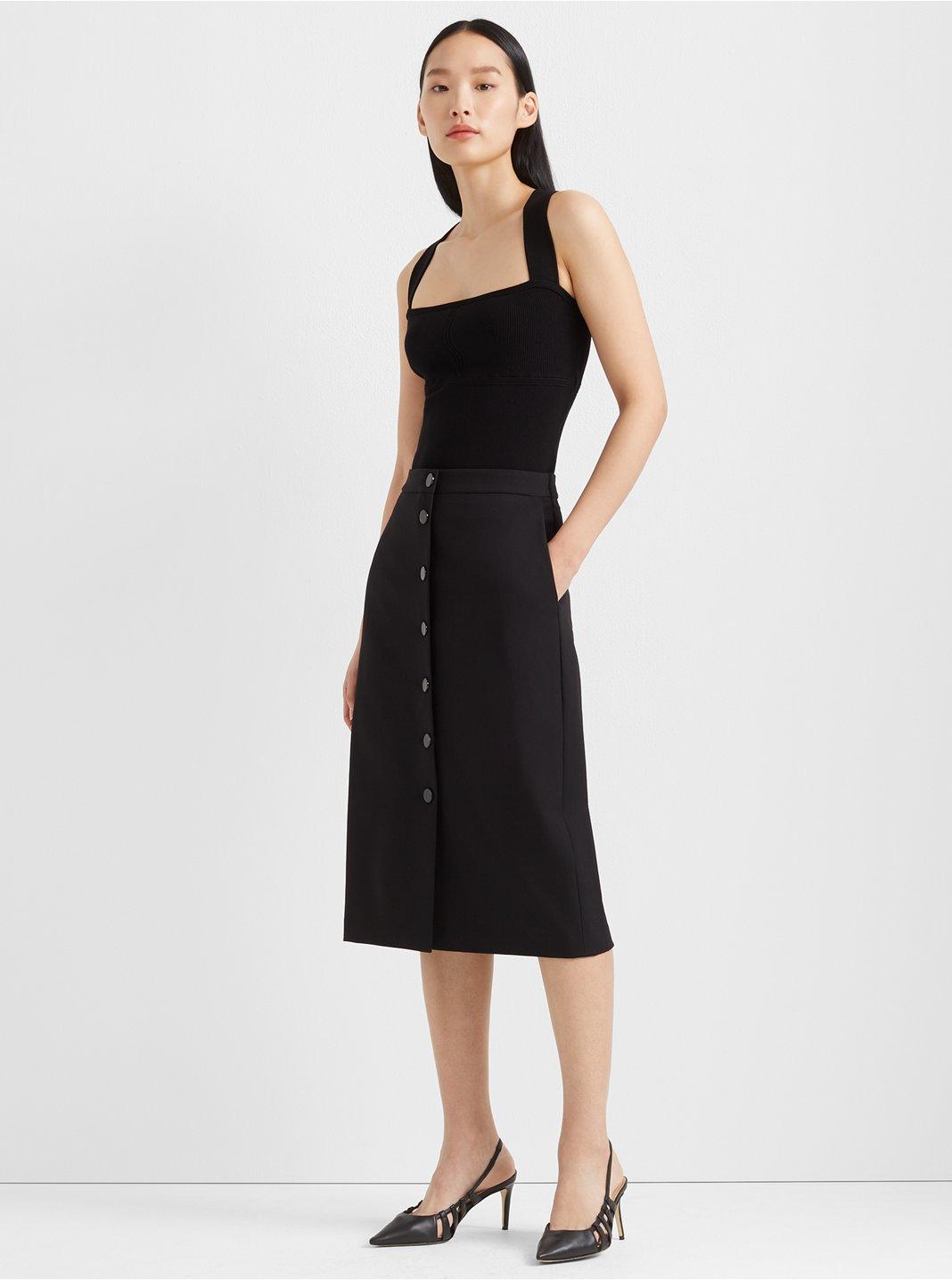 Accent Button Pencil Skirt