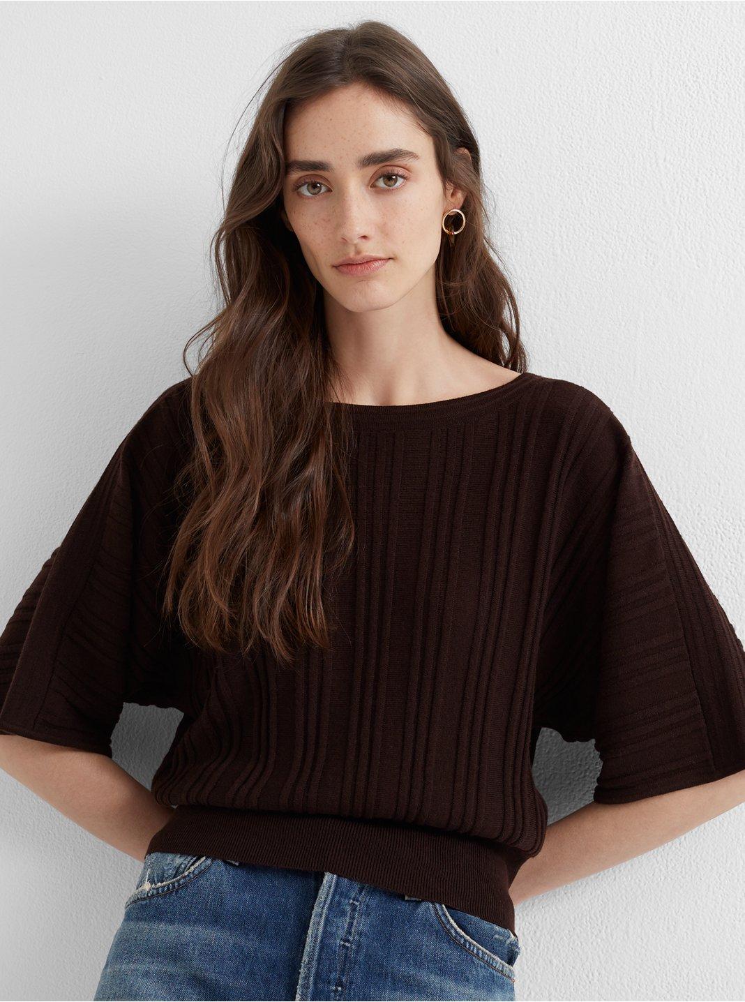 Rib-Waist Dolman Sweater