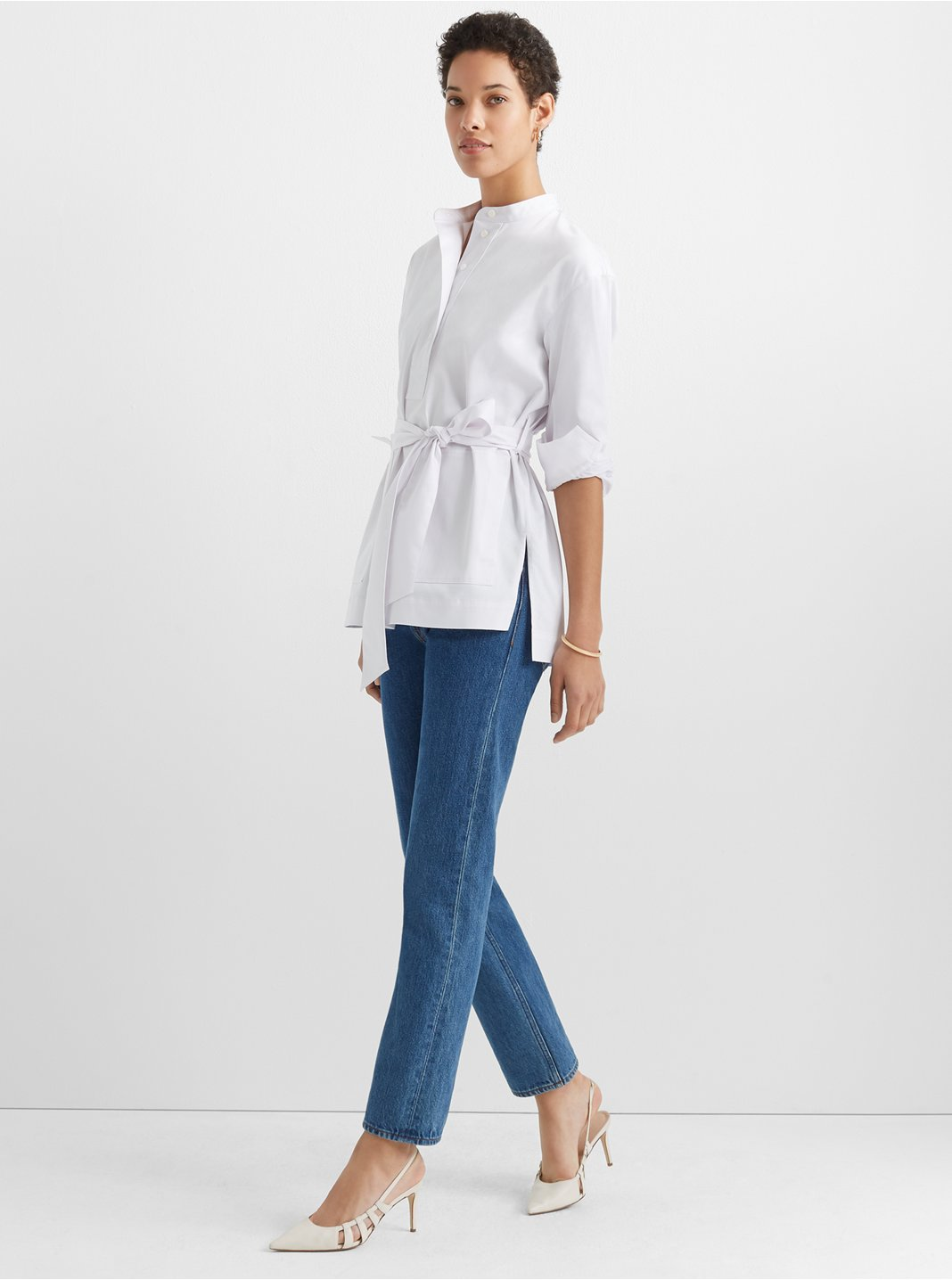 클럽 모나코 튜닉 Club Monaco Half Placket Tunic Top,White