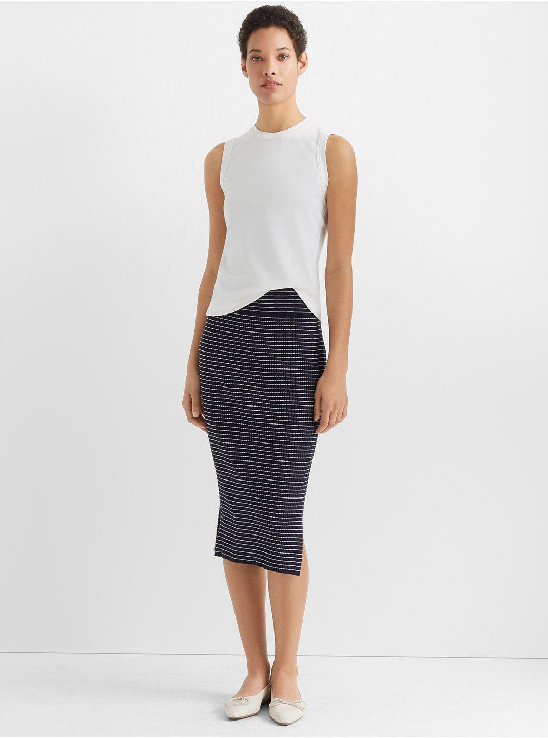 Two-Tone Rib-Knit Skirt