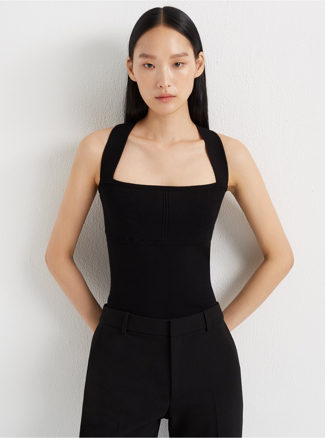 Cross-Back Rib-Knit Tank