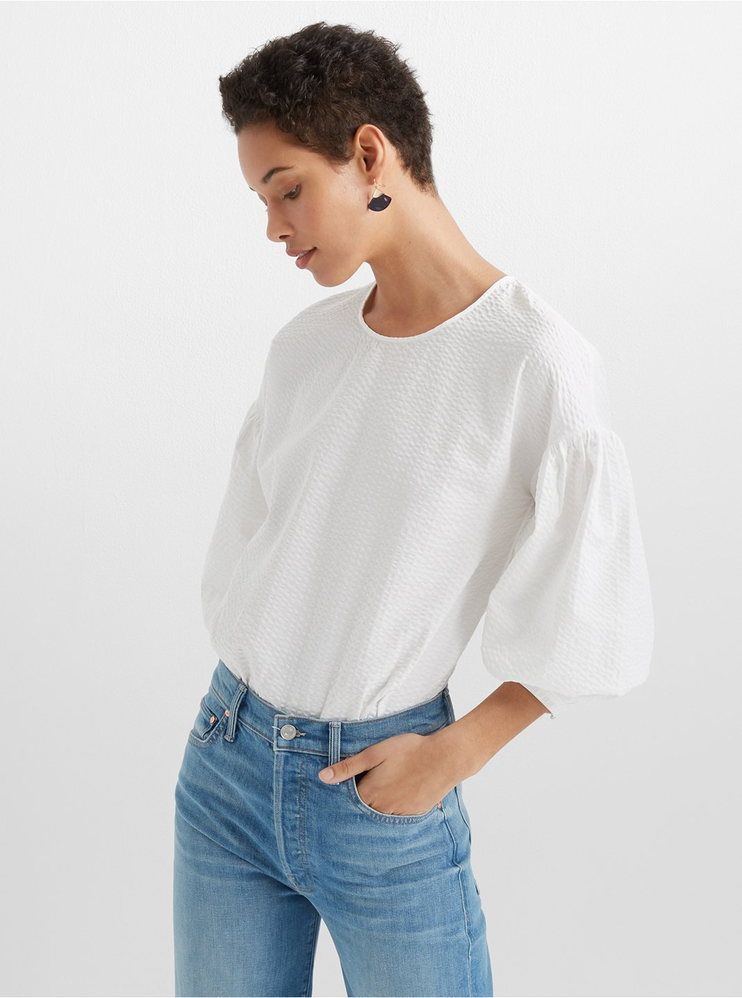 Long Sleeve Seersucker Top