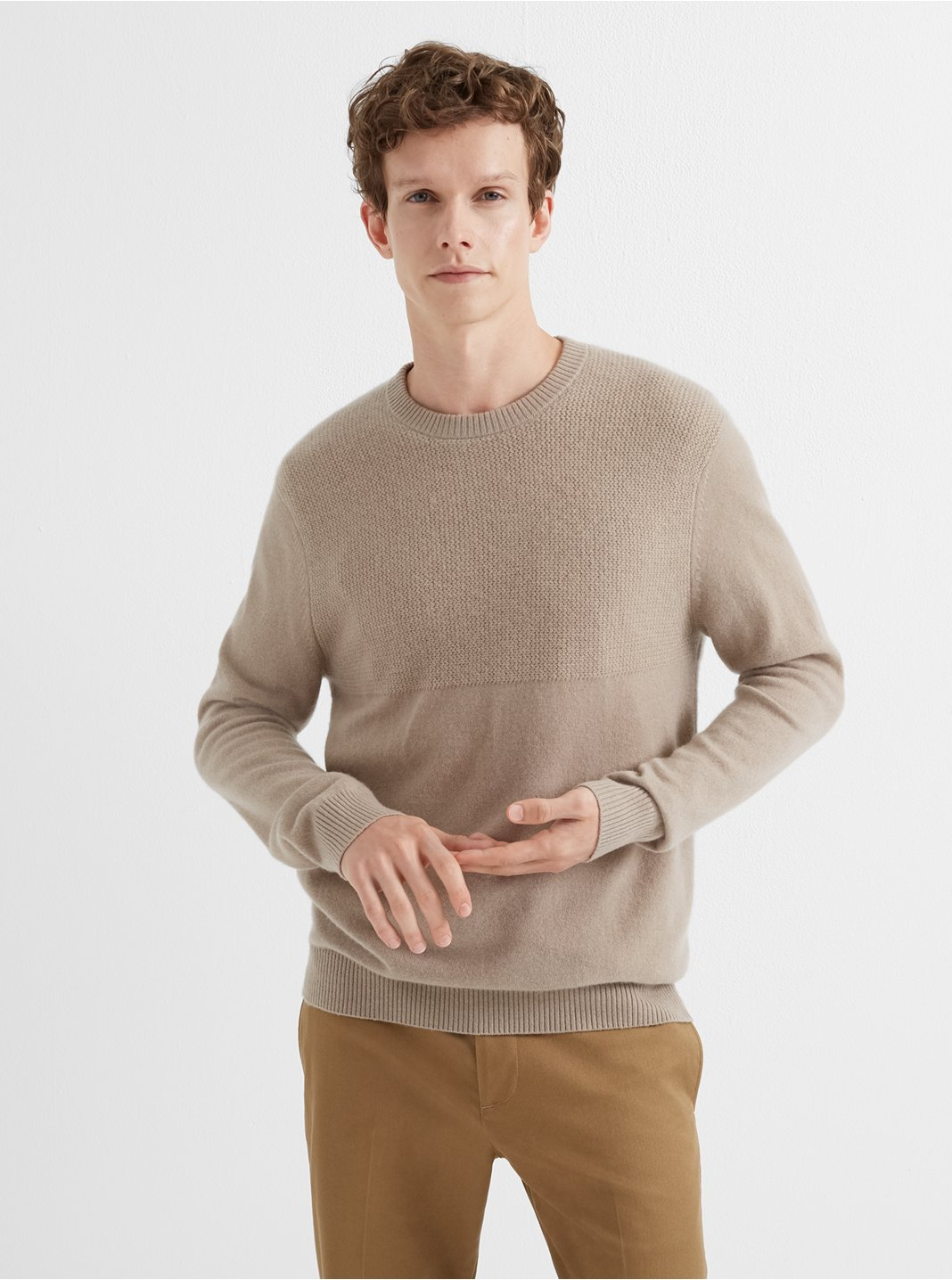 Cashmere Block Stitch Sweater