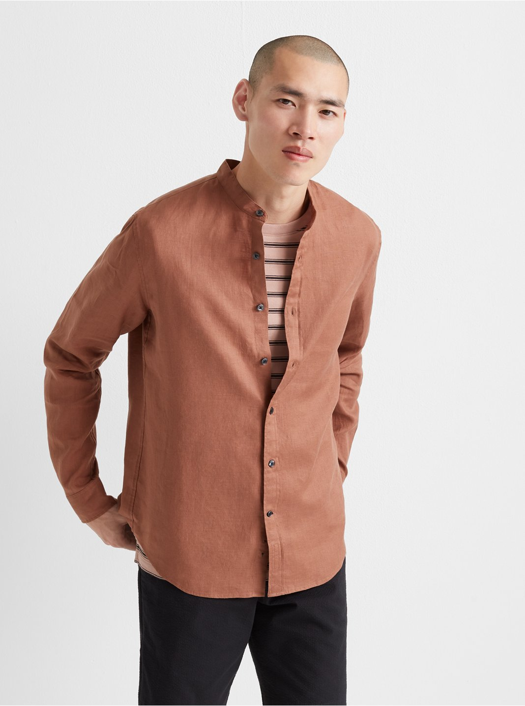 Band Collar Linen Shirt