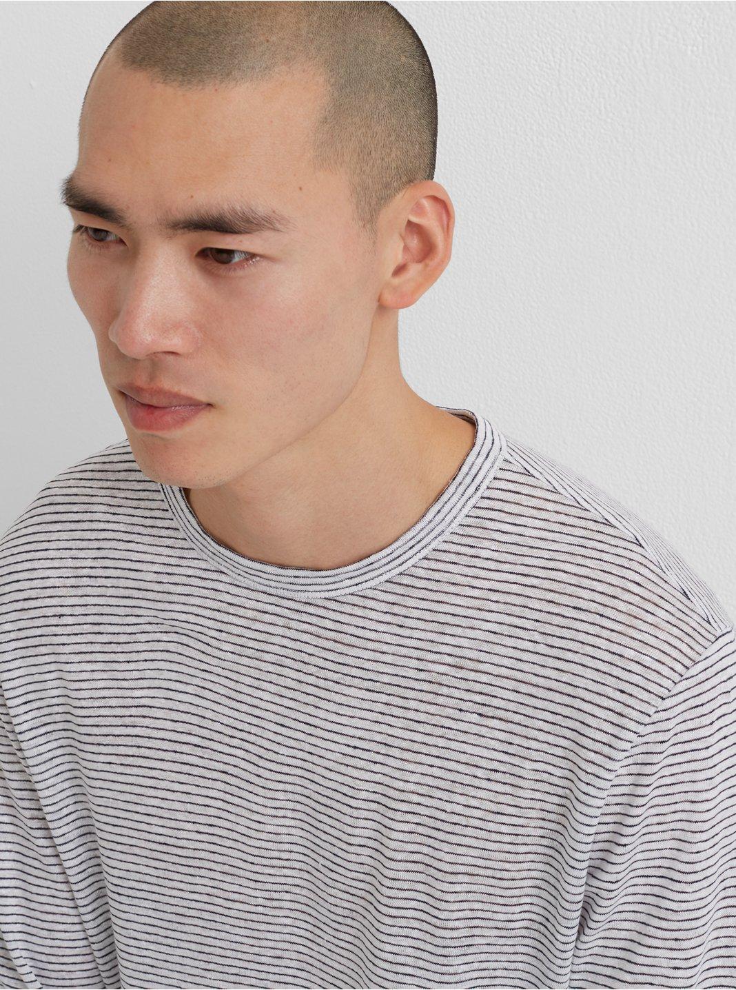 Long Sleeve Linen Stripe Crew