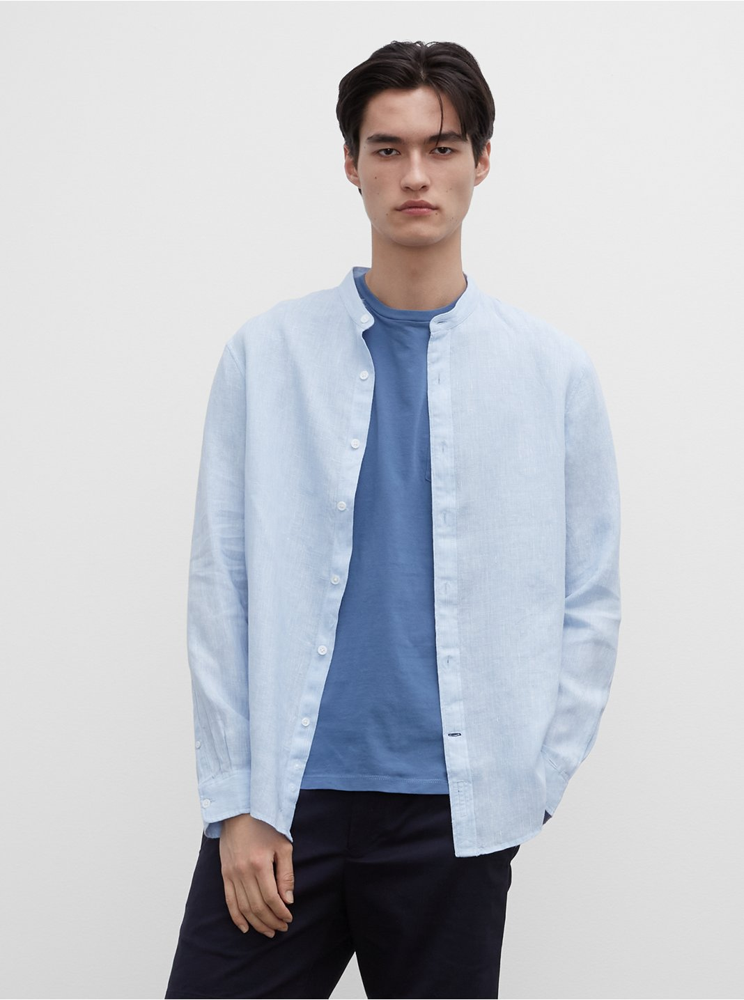 Band End-On-End Linen Shirt