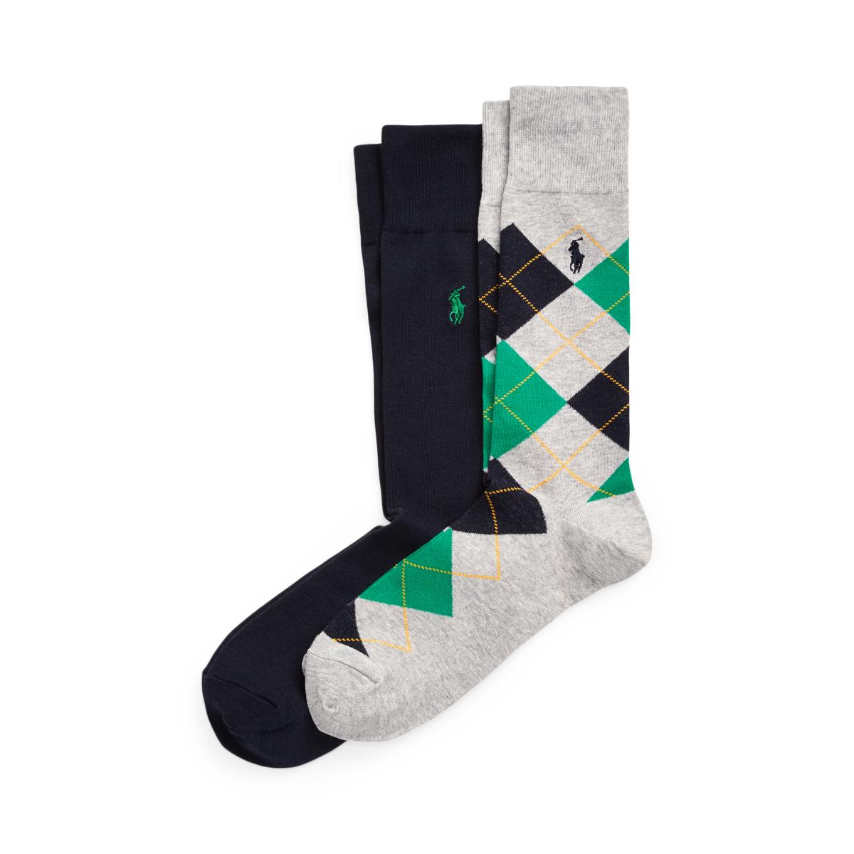 Argyle & Solid Sock 2-Pack