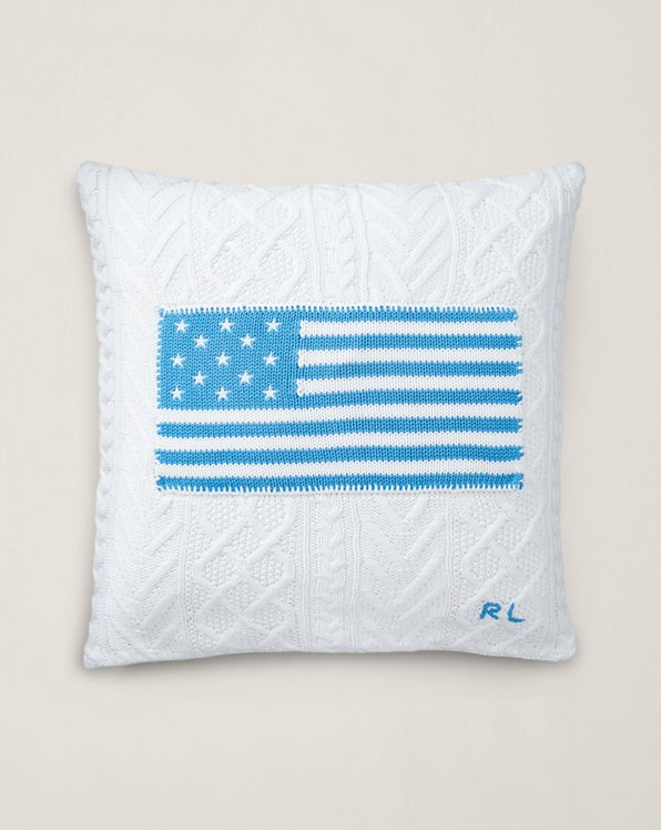 Cable-Knit Flag Throw Pillow