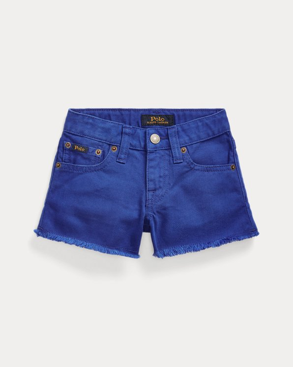 Short Polo en denim de coton