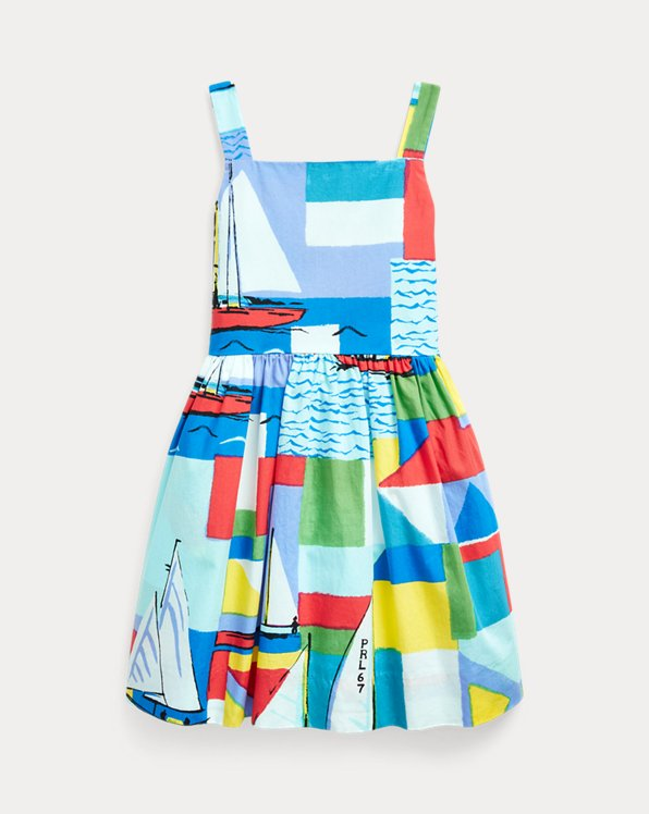 Sailboat-Print Cotton Dress