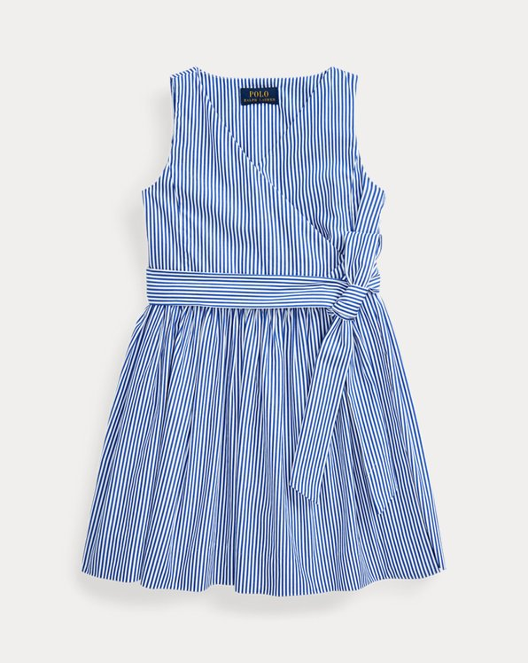 Striped Cotton Wrap Dress