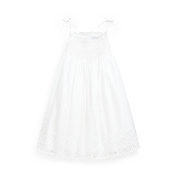 폴로 랄프로렌 여아용 원피스 Polo Ralph Lauren Smocked Cotton A-Line Dress,White