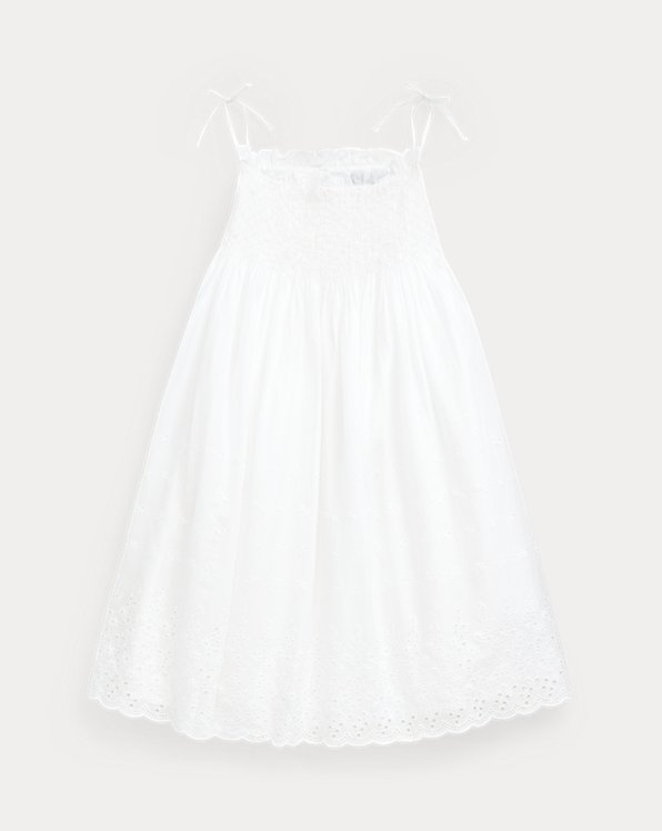 Smocked Cotton A-Line Dress