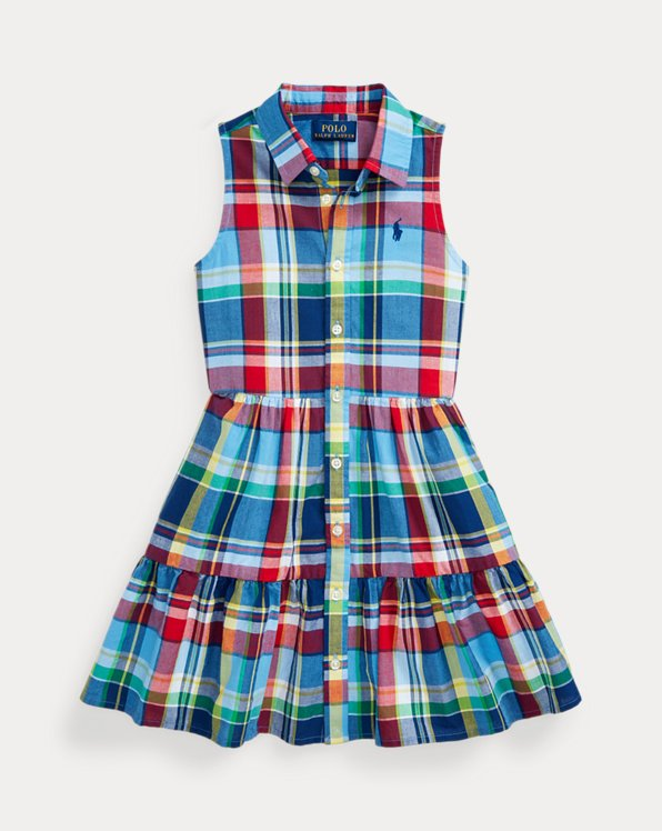 폴로 랄프로렌 Polo Ralph Lauren Cotton Madras Shirtdress,Blue Red Multi