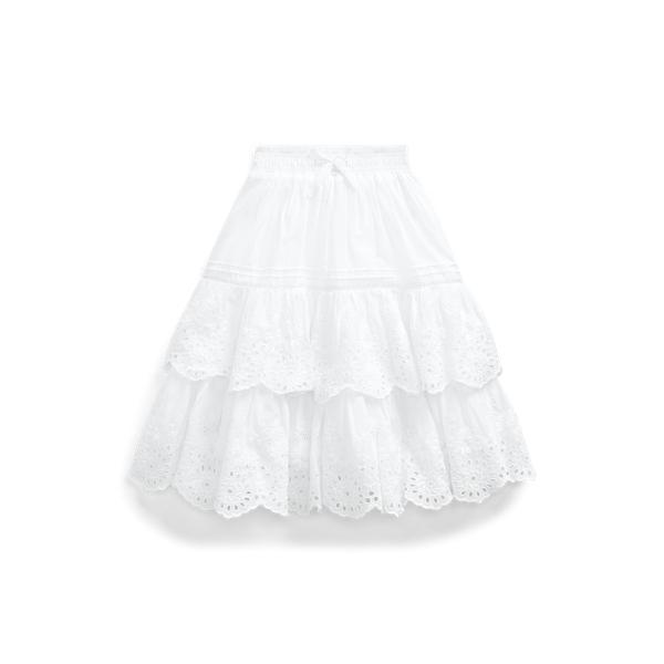 폴로 랄프로렌 Polo Ralph Lauren Eyelet Cotton Maxiskirt,White