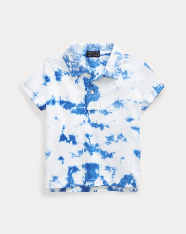 Polo in piqué stretch tie-dye