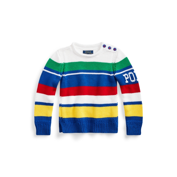 폴로 랄프로렌 Polo Ralph Lauren Striped Cotton-Blend Sweater,White Multi