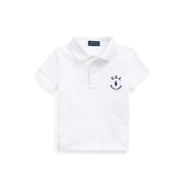 폴로 랄프로렌 여아용 폴로셔츠 Polo Ralph Lauren Flag Cotton Mesh Polo Shirt,White