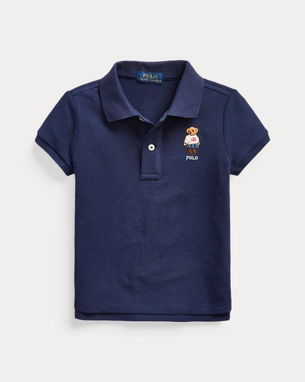 Flag Bear Cotton Mesh Polo
