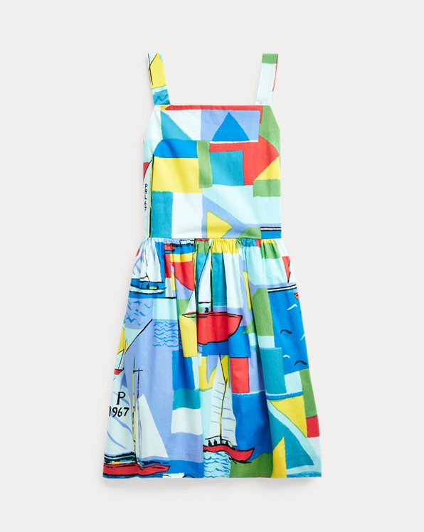 Sailboat-Print Cotton Dress
