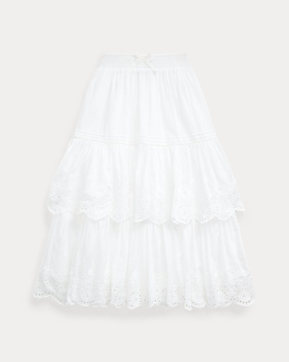 폴로 랄프로렌 Polo Ralph Lauren Eyelet Cotton Maxiskirt,White