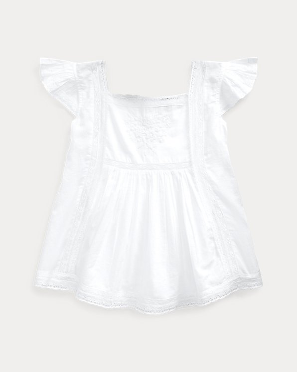Lace-Trim Cotton Voile Top