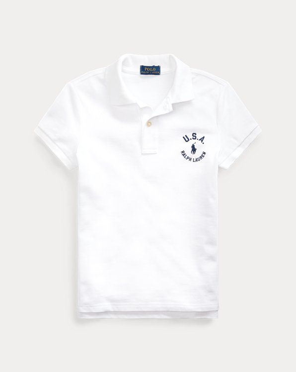 Flag Cotton Mesh Polo Shirt