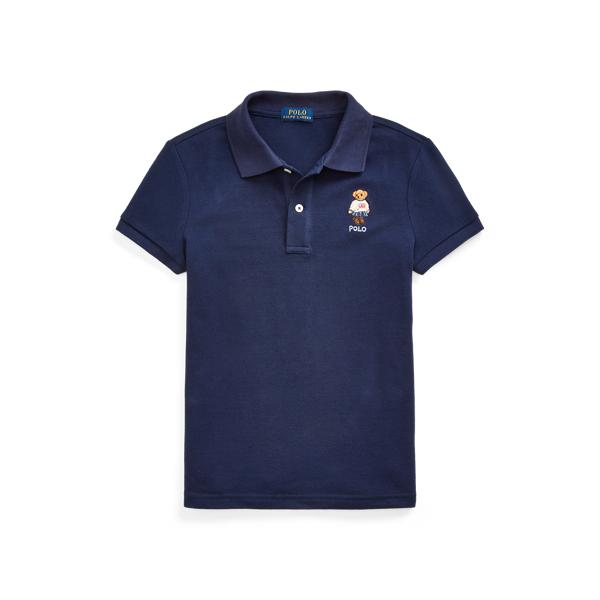 폴로 랄프로렌 걸즈 폴로 셔츠 Polo Ralph Lauren Polo Bear Cotton Mesh Polo Shirt,Newport Navy