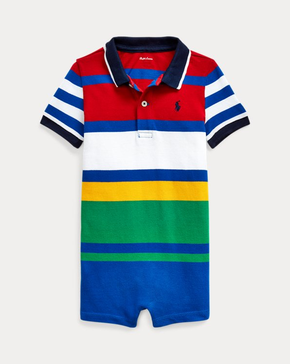 Striped Cotton Polo Shortall