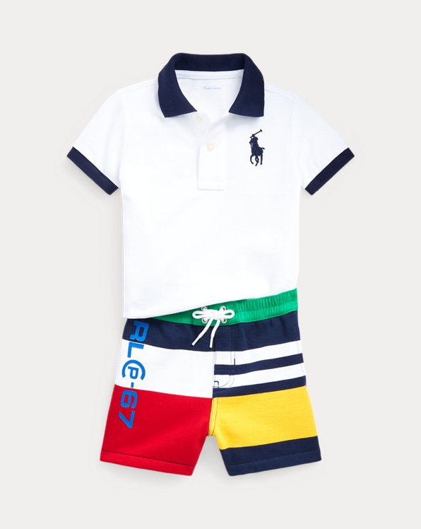 Completo short in felpa e polo